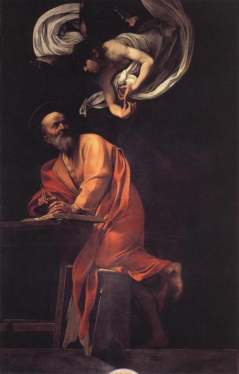 Caravaggio, The Inspiration of St Matthew, 1602 (Contarelli Chapel, San Luigi dei Francesi, Rome)