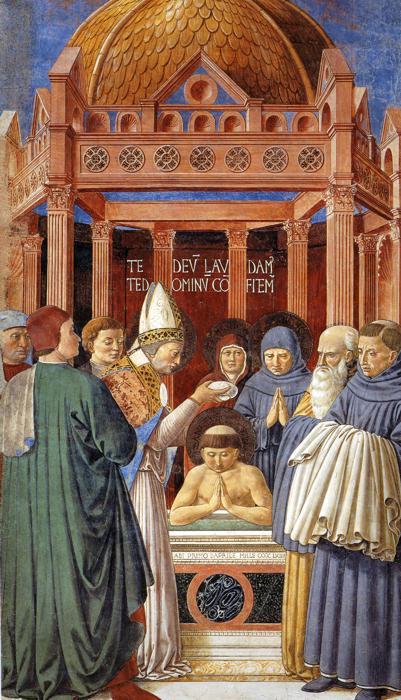 Benozzo Gozzoli, Baptism of St Augustine, c. 1465 (Apsidal Chapel of Sant' Agostino, San Gimignano)