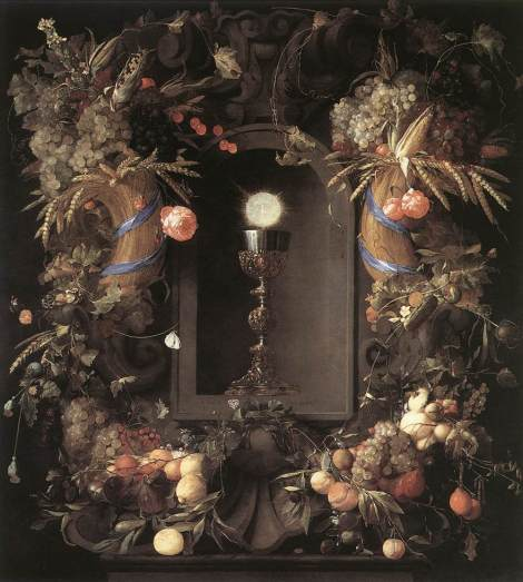 Jan Davidsz de Heem, Eucharist in Fruit Wreath, 1648 (Kunsthistorisches Museum, Vienna)