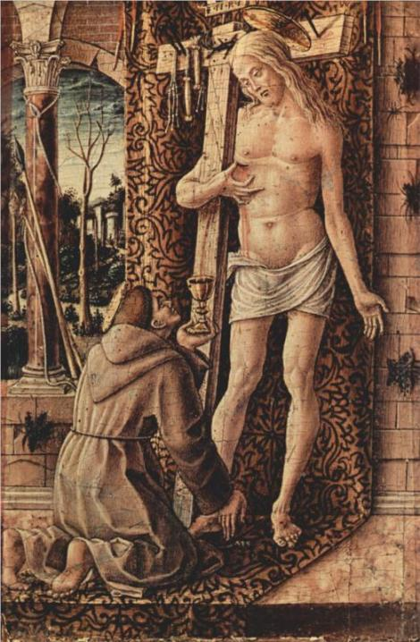 Carlo Crivelli, St Francis Catches the Blood of Christ from the Wounds, 1480-86 (Museo Poldi Pezzoli, Milan)