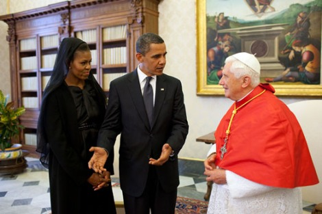 Michelle and Barack Obama and Pope Benedict XVI