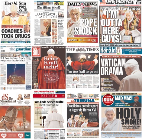Pope Resigns Front Pages