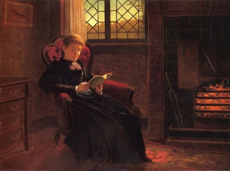 Samuel S. Carr, Reading by the Fire, Date Unknown