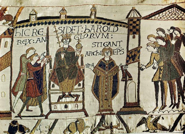 The coronation of Harold II; he receives sword and sceptre. Bayeux Tapestry, embroidery (11th C).