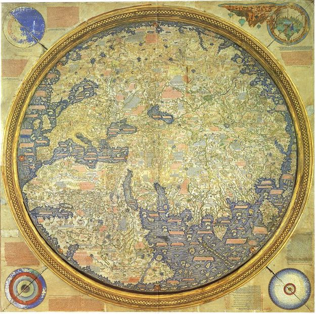 Fra Mauro Map. c. 1450 (Inverted) Click for massive full resolution.