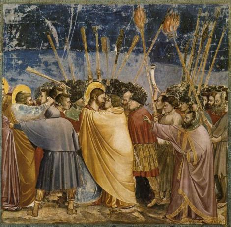 Giotto, The Arrest of Christ (Kiss of Judas), 1304-06 (Scrovegni Chapel, Padua)