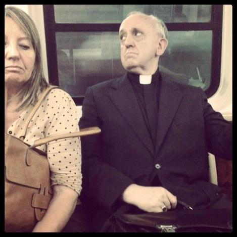 Pope Francis on the bus