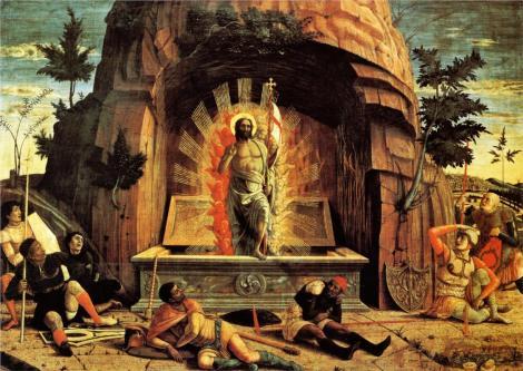 Andrea Mantegna, The Resurrection, right hand predella panel from the Altarpiece of St. Zeno of Verona, 1459