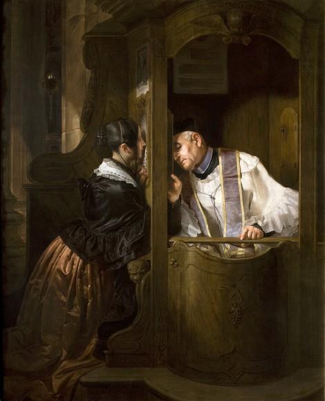 Guiseppe Molteni, The Confession, 1838 (Gallerie di Piazza Scala)