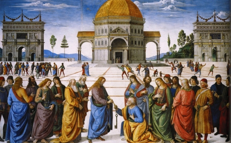 Pietro Perugino, Christ Handing the Keys to St Peter, 1482 (Sistine Chapel, Vatican)