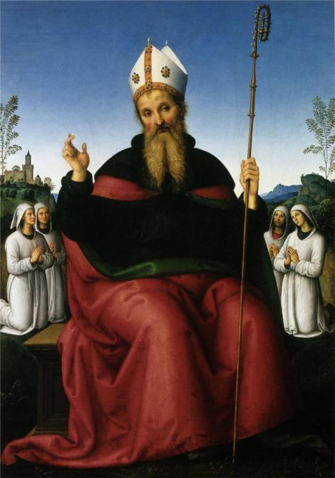 Pietro Perugino, St Augustine and four states of a fraternity, 1498