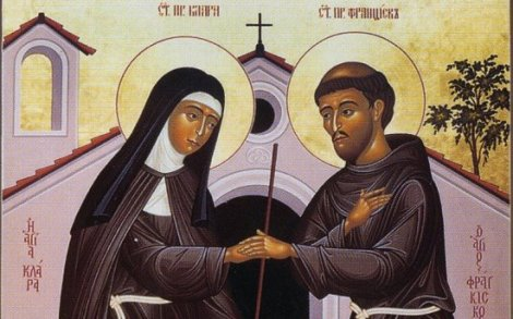 Two holy friends, St Clare and St Francis of Assisi