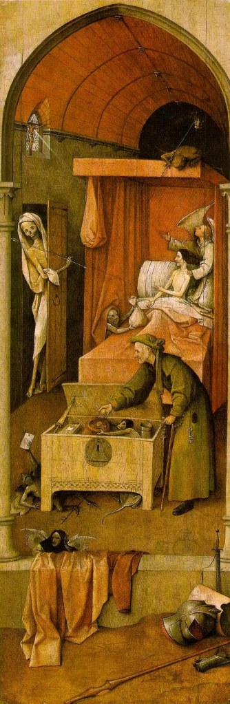 Hieronymus Bosch, Death and the Miser, 1494 (National Gallery of Art, Washington, D.C.)