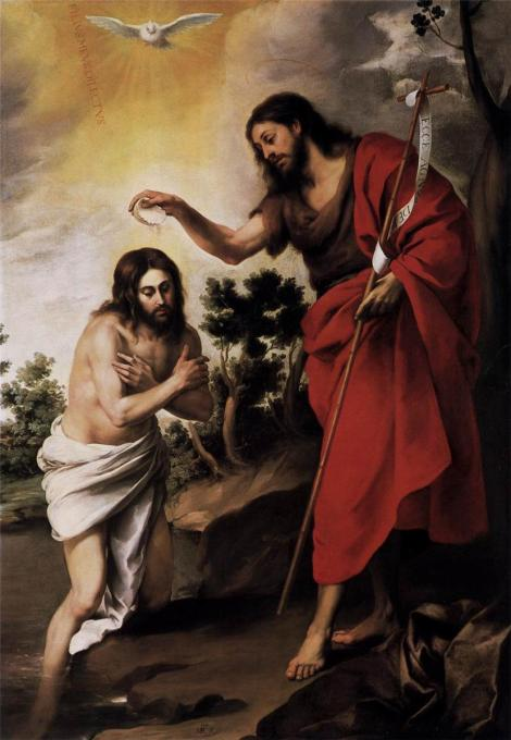 Bartolome Murillo, Baptism of Christ, c. 1665 (Staatliche Museen zu Berlin, Gemäldegalerie, Berlin)