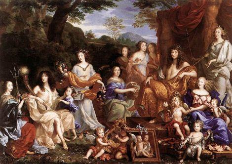 Jean Nocret, Mythological Portrait of the Family of Louis XIV, 1670 (Palais du Versailles)